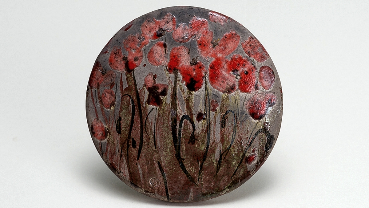 Naomipeli ceramics, RAKU, Red Poppies alt
