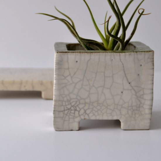 SQUARE raku candle holder, flower pot, NAOMIPELI ceramics