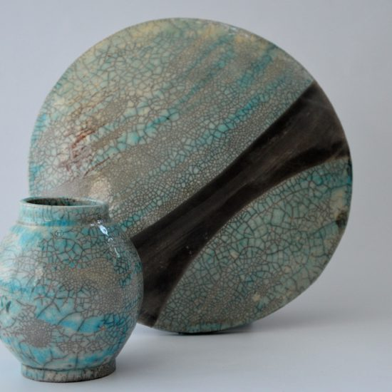 BLUEMOON raku vase and wall decor, NAOMIPELI ceramics