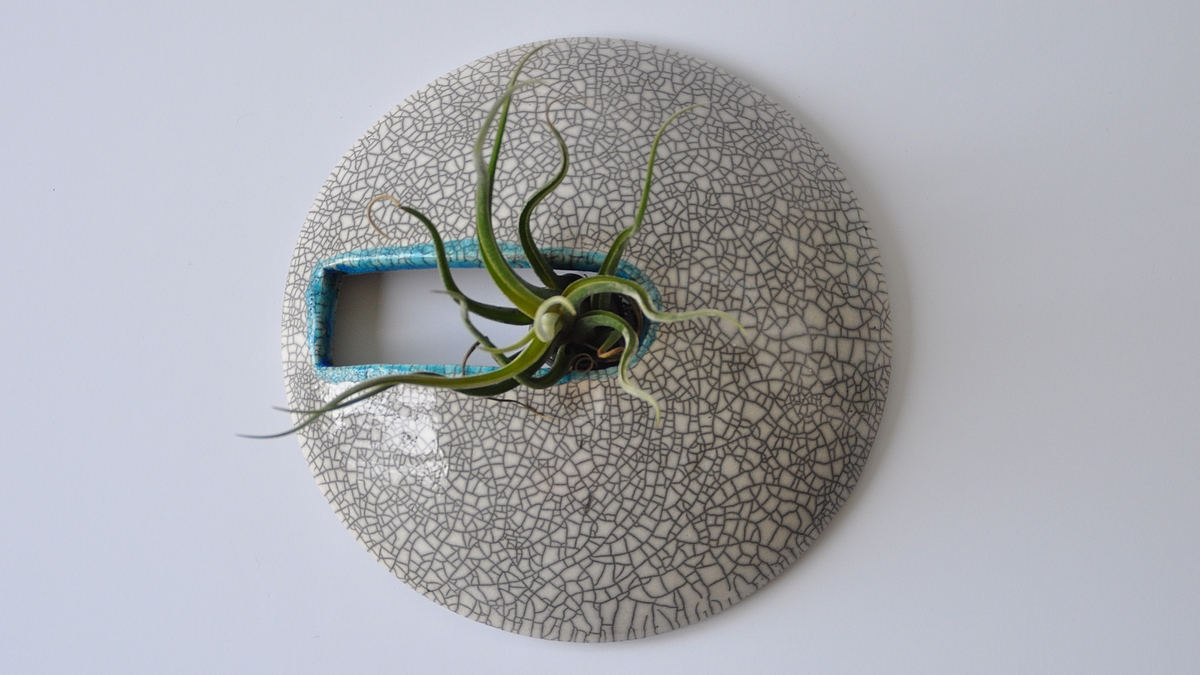 SMILE raku wall plant pot, NAOMIPELI ceramics