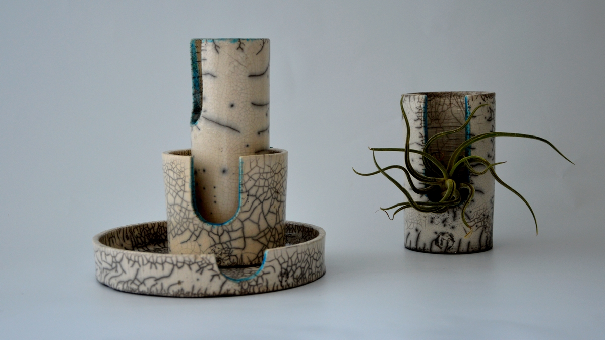 SMILE raku vase, tray and plant pot, NAOMIPELI ceramics