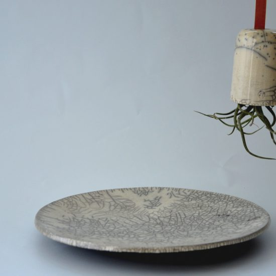 SIMPLE WHITE raku hanging flower pot, tray, NAOMIPELI ceramics